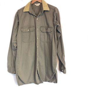 Cabelas sz m olive button front shirt long sleeve